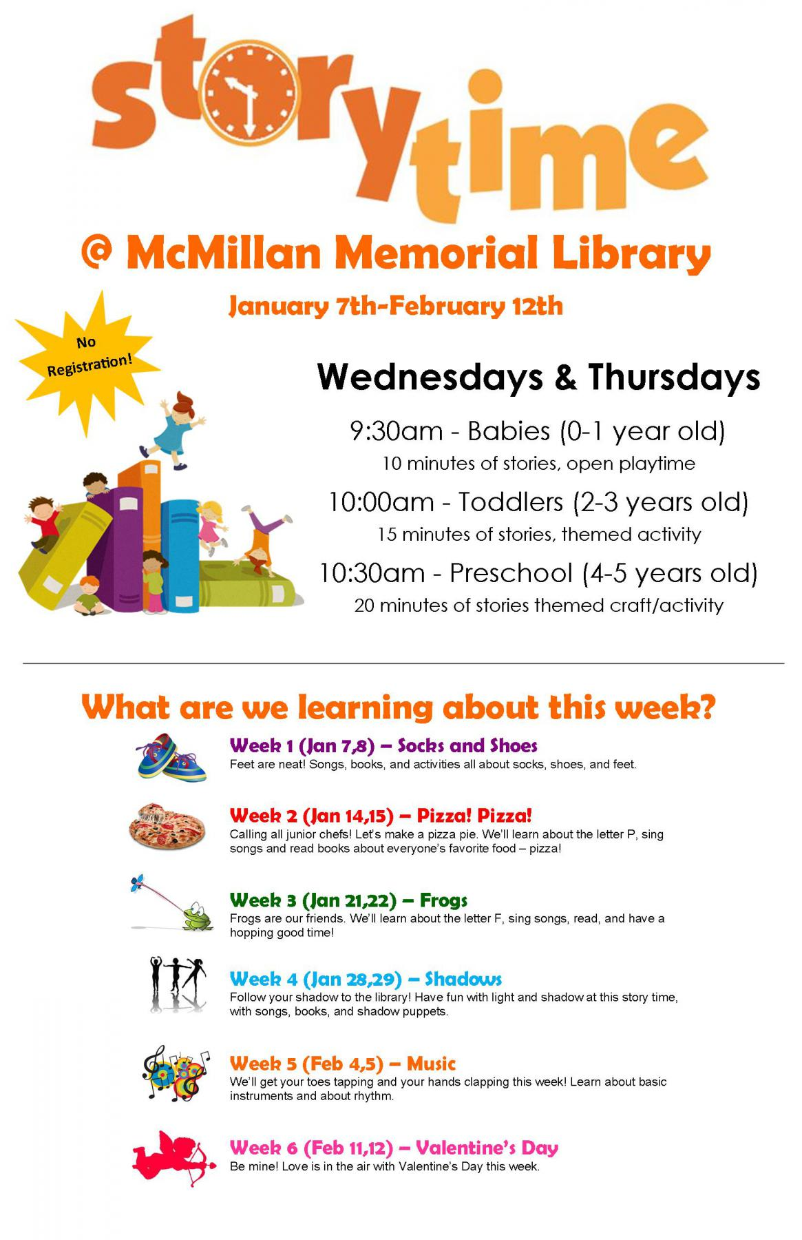 New Story Time Schedule Mcmillan Memorial Library