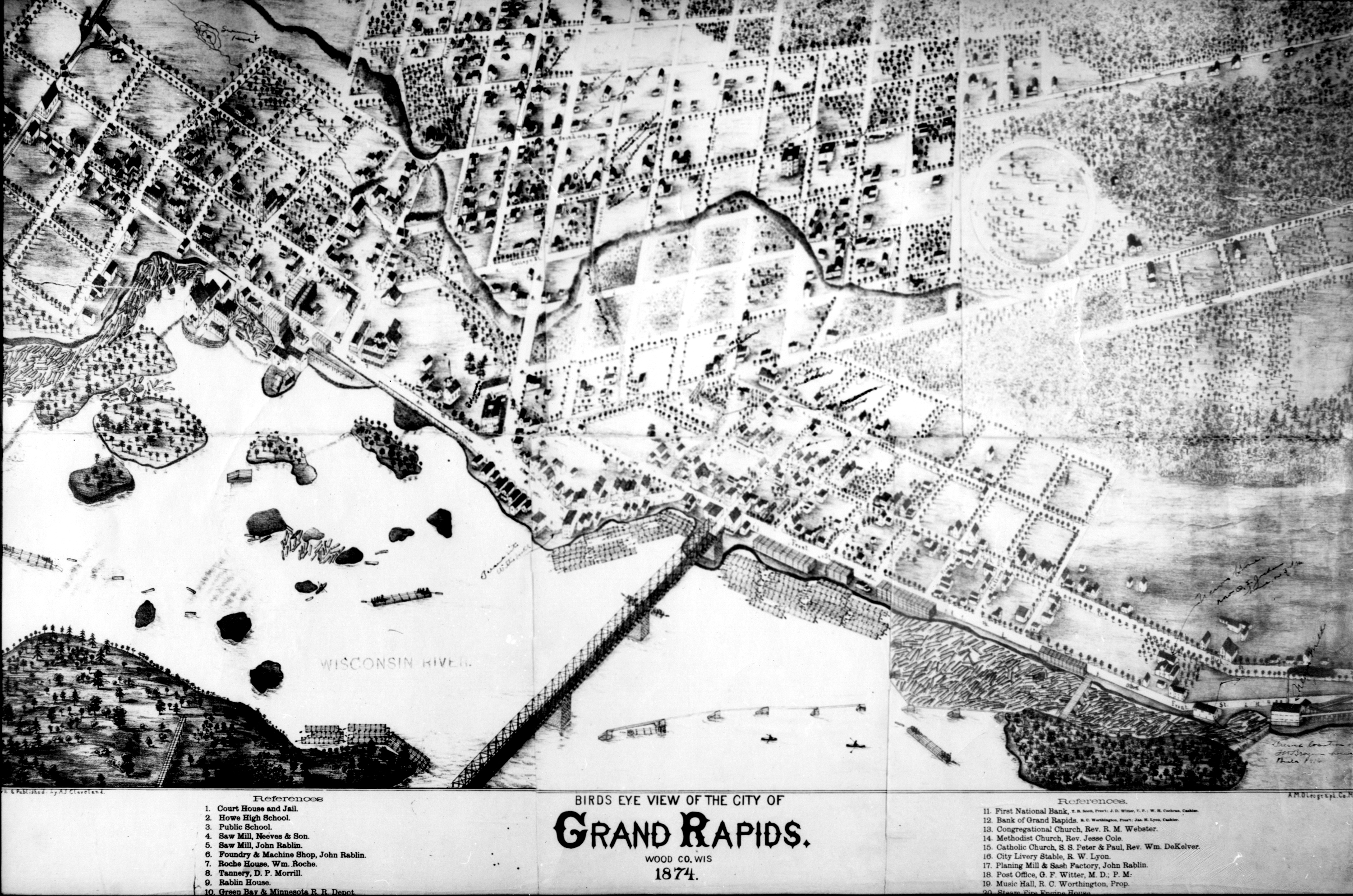 Birds Eye View Of The City Of Grand Rapids Wood Co Wis 1874