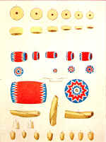 Coin Beads Drawn by Capt. Eastman, U.S.A. from History of the Indian Tribes of the United States by Henry R. Schoolcraft]