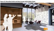 An Ideas Lounge provides space for planning or group work.