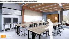 The Makerspace could be used as a classroom or a work area.